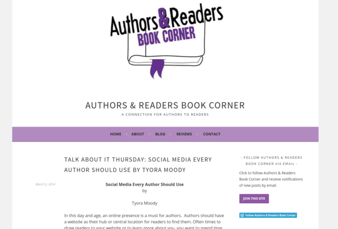 Social Media Every Author Should Use | Guest Blog at Authors & Readers Corner