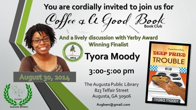 "August 30, 2014 – Tyora Moody Talks to ""Coffee and A Good Book"" BOOK CLUB  #deepfriedtrouble #cozymystery"